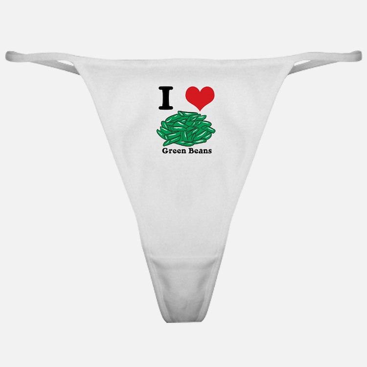 I Heart (Love) Green Beans Classic Thong