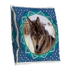 Geometric Wolf Burlap Throw Pillow
