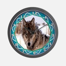 Geometric Wolf Wall Clock