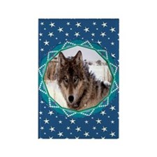 Geometric Wolf Rectangle Magnet