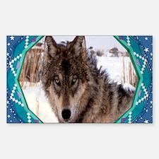 Geometric Wolf Sticker (Rectangle)