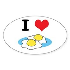 I Heart (Love) Fried Eggs Oval Decal