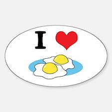 I Heart (Love) Fried Eggs Oval Decal