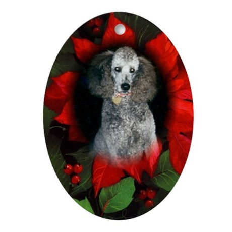 Silver Poodle Christmas Oval Ornament