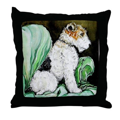 "Fox Terrier ""Waiting"" Throw Pillow"