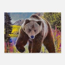 Grizzly Bear Territory 5'x7'Area Rug