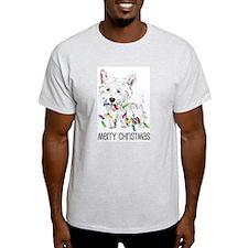 Westie Christmas Lights Ash Grey T-Shirt