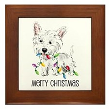 Westie Christmas Lights Framed Tile