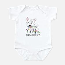 Westie Christmas Lights Infant Bodysuit