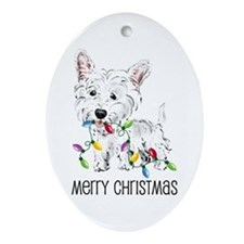Westie Christmas Lights Oval Ornament