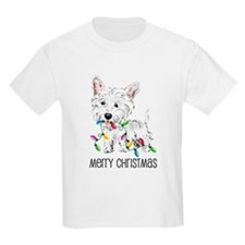Westie Christmas Lights Kids T-Shirt