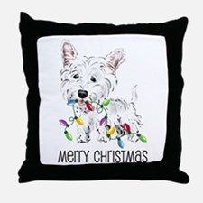 Westie Christmas Lights Throw Pillow