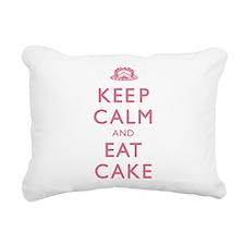 Keep Calm And Eat Cake Rectangular Canvas Pillow