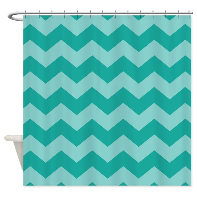 Teal Chevron Striped Shower Curtain By MainstreetHomewares