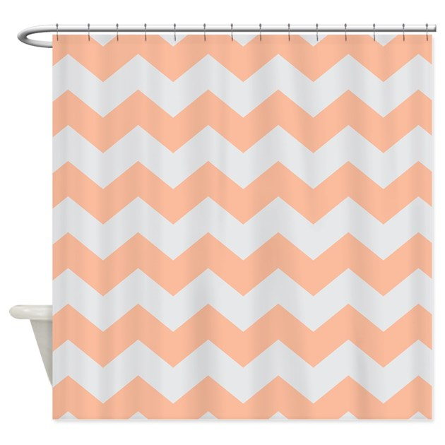 Peach Gray Chevron Stripe Shower Curtain By