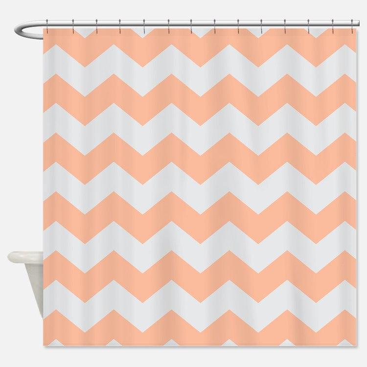 Peach And Gray Chevron Shower Curtains   Peach And Gray Chevron ...