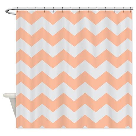 peach gray chevron stripe shower curtain