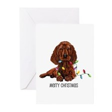 Christmas Irish Setter Greeting Cards (Package of