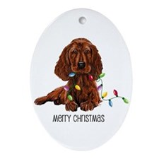 Christmas Irish Setter Oval Ornament