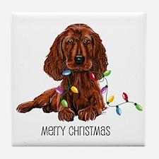 Christmas Irish Setter Tile Coaster