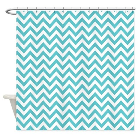 Turquoise And White Chevron Shower Curtain By