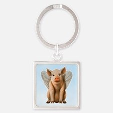 Tiny Flying Pig Square Keychain