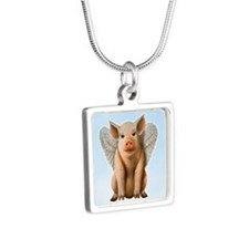 Tiny Flying Pig Silver Square Necklace