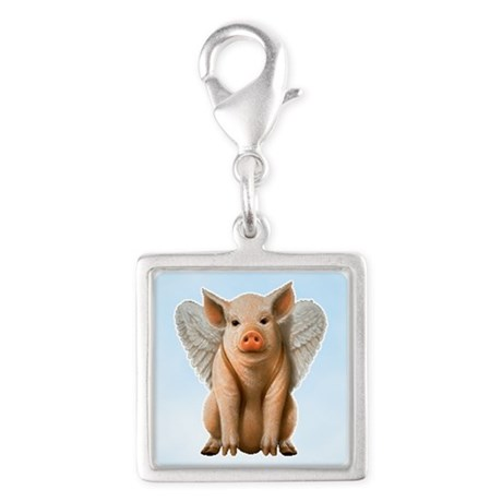 Tiny Flying Pig Silver Square Charm