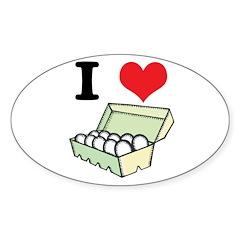I Heart (Love) Eggs Oval Sticker