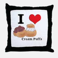 I Heart (Love) Cream Puffs Throw Pillow