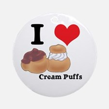 I Heart (Love) Cream Puffs Ornament (Round)