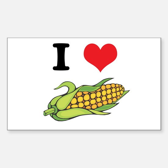 I Heart (Love) Corn (On the Cob) Sticker (Rectangu