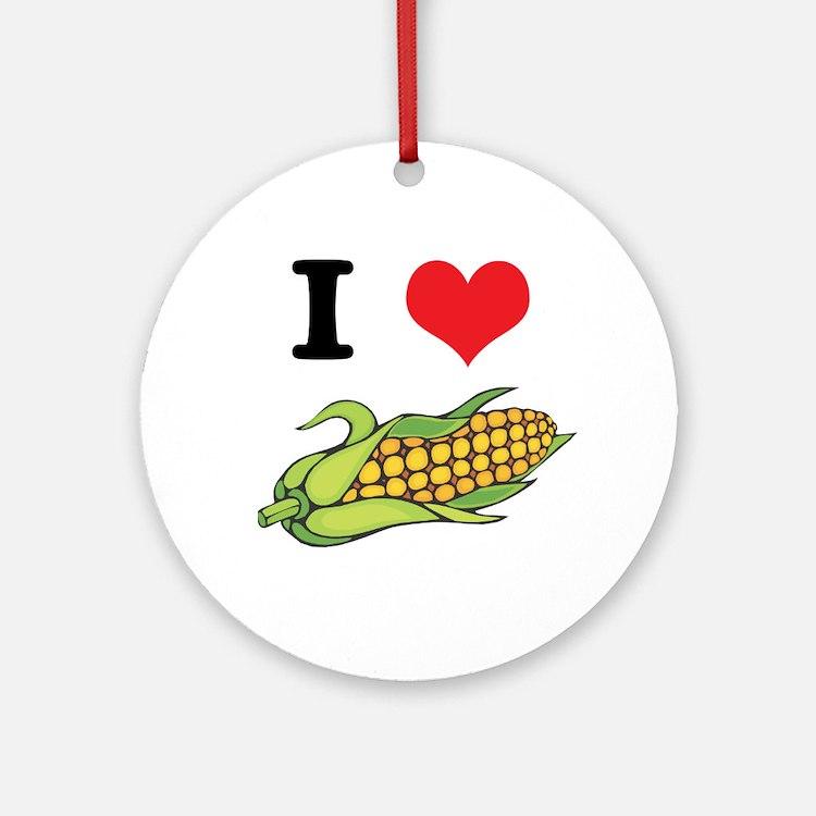 I Heart (Love) Corn (On the Cob) Ornament (Round)