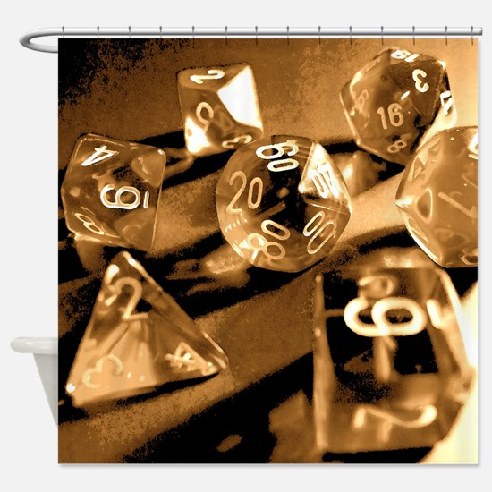 Sepia Gaming Dice Shower Curtain