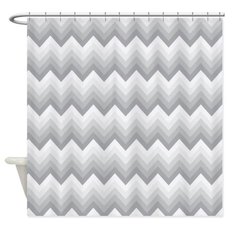 Chevron Gray Zigzag Striped Shower Curtain By MainstreetHomewares