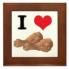 I Heart (Love) Chicken (Drumsticks) Framed Tile
