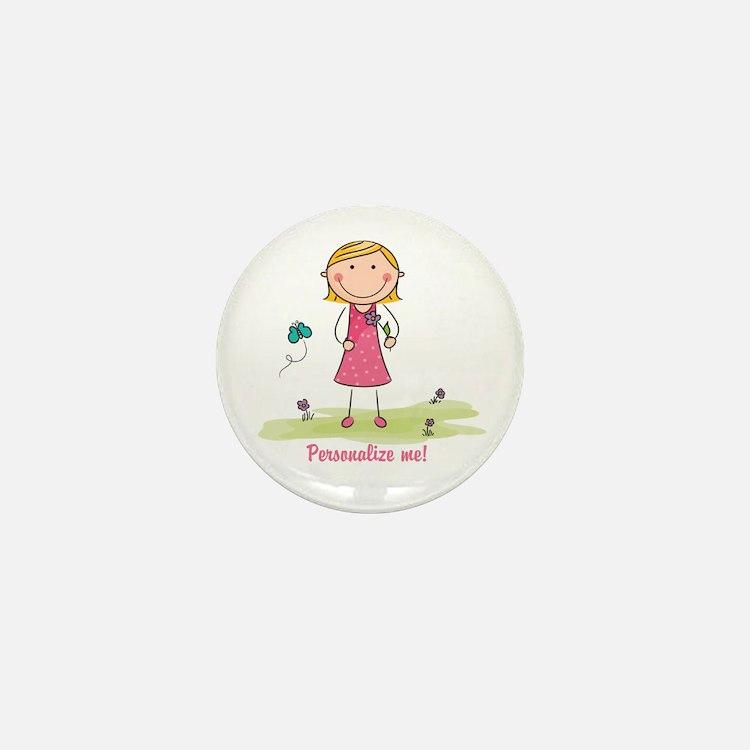 Cute girl - personalize Mini Button