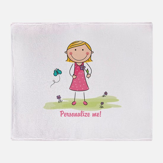 Cute girl - personalize Throw Blanket