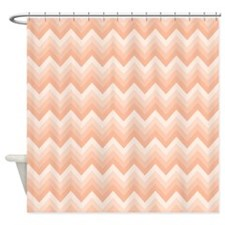 Peach Bath Chevron Zigzag Shower Curtain