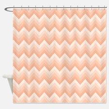 Peach Bath Chevron Zigzag Shower Curtain