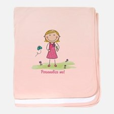 Cute girl - personalize baby blanket