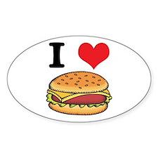 I Heart (Love) Cheeseburgers Oval Decal