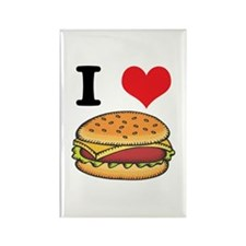 I Heart (Love) Cheeseburgers Rectangle Magnet