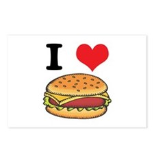 I Heart (Love) Cheeseburgers Postcards (Package of
