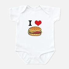 I Heart (Love) Cheeseburgers Infant Bodysuit