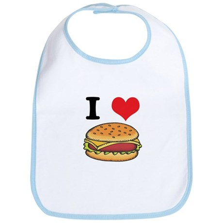I Heart (Love) Cheeseburgers Bib