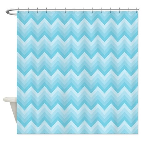 Turquoise Chevron Striped Shower Curtain By