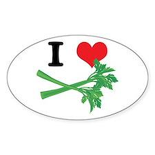 I Heart (Love) Celery Oval Decal