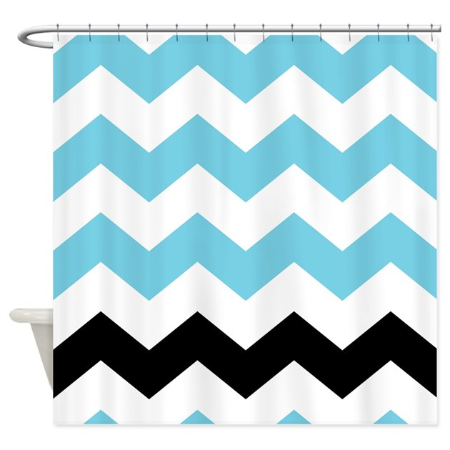 black white turquoise chevron shower curtain by