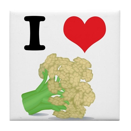 I Heart (Love) Cauliflower Tile Coaster